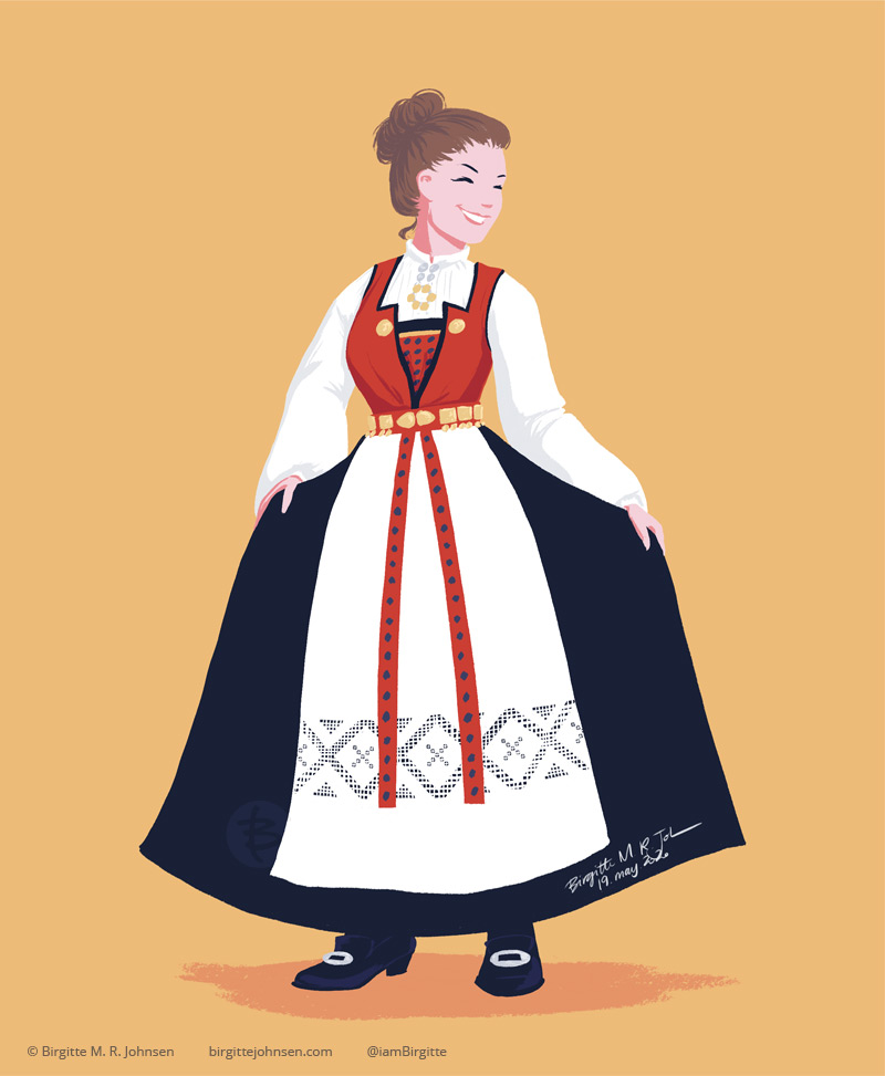A digital painting of a woman wearing a Hardangerbunad. The bunad has a red bodice, black woolen skirt with a white apron, which is worn with a white shirt with fine white embroidery on the cuffs and collar.