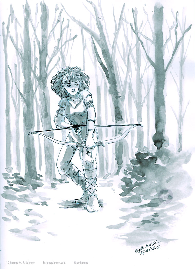 A huntress stalking her pray with a bow and arrow