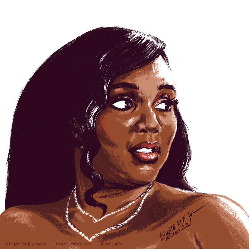 A stylised portrait of singer and flute player Lizzo, painted using only six colours, including white.