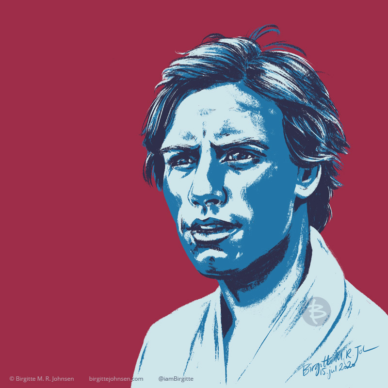 Digital stylised portrait of Luke Skywalker from the original Star Wars; A New Hope, painted in hues of blue with a maroon background.