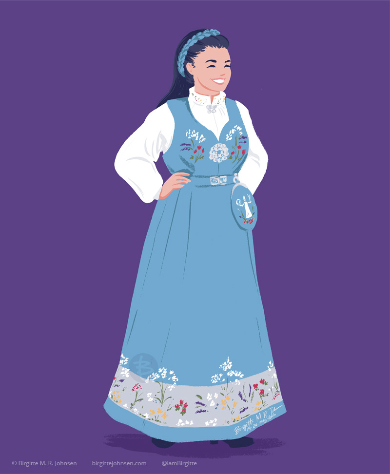 A woman the light blue bunad featuring a grey inlay at the bottom of the skirt which is embroidered with flowers. The bunad was originally worn with a grey blouse, but these days it a white blouse with flowery embroidery on the cuffs and collar is more common.