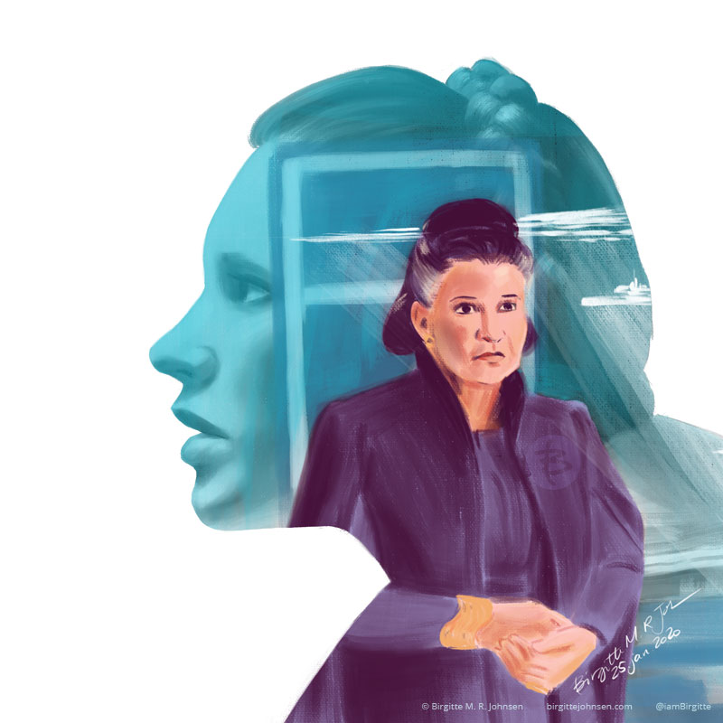 A digital portrait of Carrie Fisher as General Leia inside a silhouette of a younger Princess Leia.