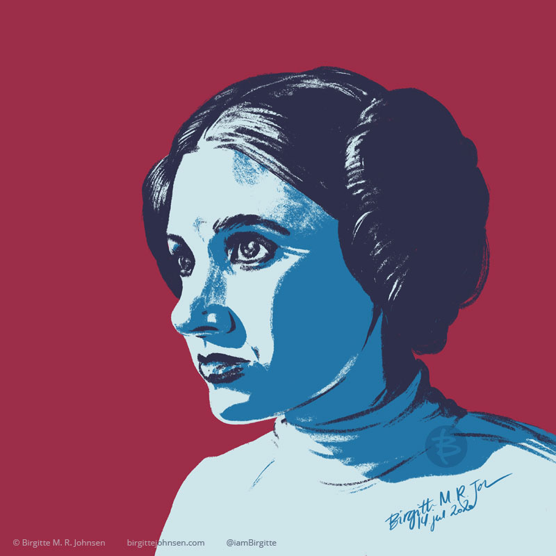 Digital stylised portrait of Princess Leia from Star Wars; A New Hope, painted in hues of blue with a maroon background.