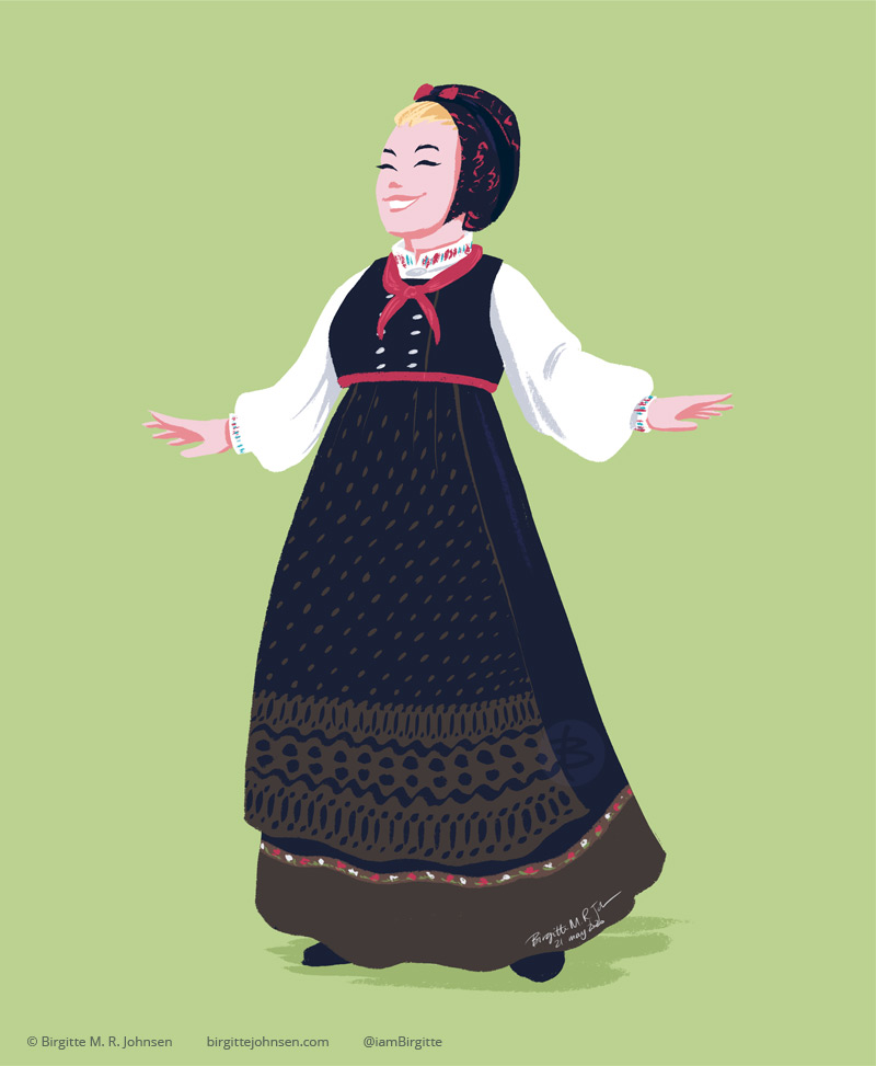 A woman really happily showing off her skjælingsdrakt from Upper Numedal. This is an empire waist bunad, worn with a blouse with colourful embroidery, and a hat. This particular bunad, has a brown and black patterned apron, which matches the brown band at the bottom of the skirt. The bodice of the bunad is black with silver buttons, and is worn with a colourful scarf tied around the neck.