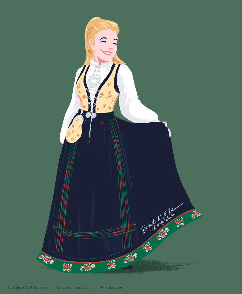 A digital painting of woman wearing a Sognebunad, with a yellow bodice, black skirt with a green hem with red embroideries. Under the bunad is a white linen blouse with white embroidery on the cuff, collar and the box plate which hides the sown in buttons. The bag fastened to the belt is of the same fabric as the bodice. The apron of this bunad is black and woven with a green and red striped pattern at the bottom and sides.