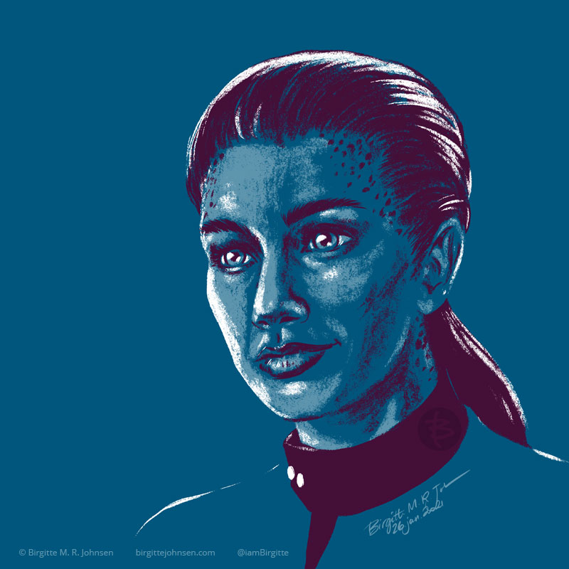 A portrait of Jadzia Dax portrayed by Terry Farrell , painted in a limited colour palette mostly featuring blue, which was inspired by the blue colour of her Starfleet uniform.