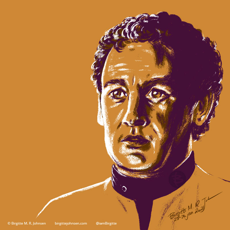 A portrait of Miles O'Brien portrayed by Colm Meaney, painted in a limited colour palette mostly featuring yellow, which was inspired by his gold Starfleet uniform.