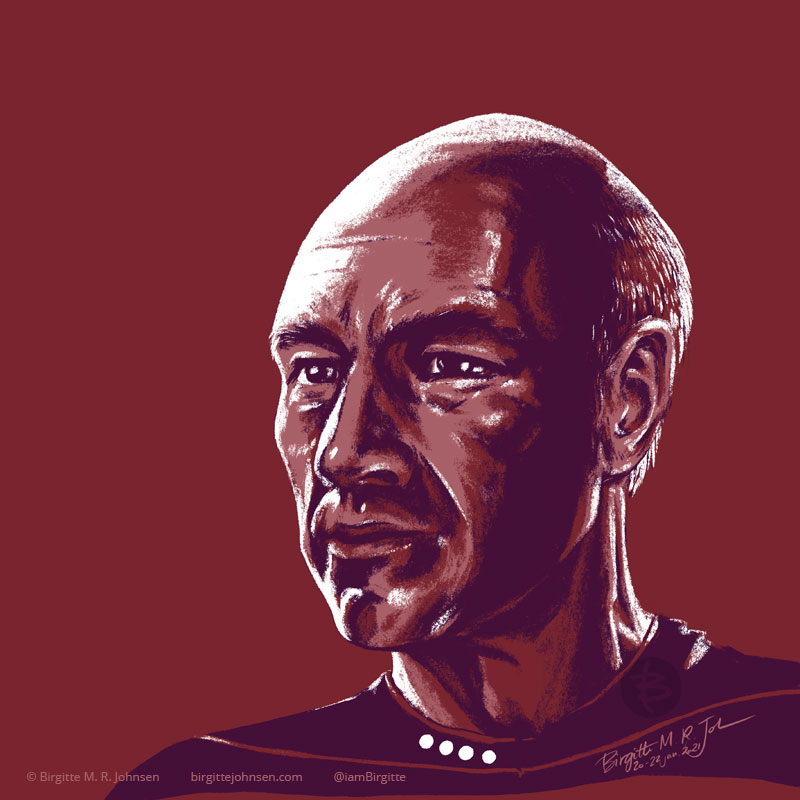 A portrait of Captain Picard portrayed by Sir Patrick Stewart, painted in a limited colour palette mostly featuring red, which was inspired by the red colour of his Starfleet uniform.
