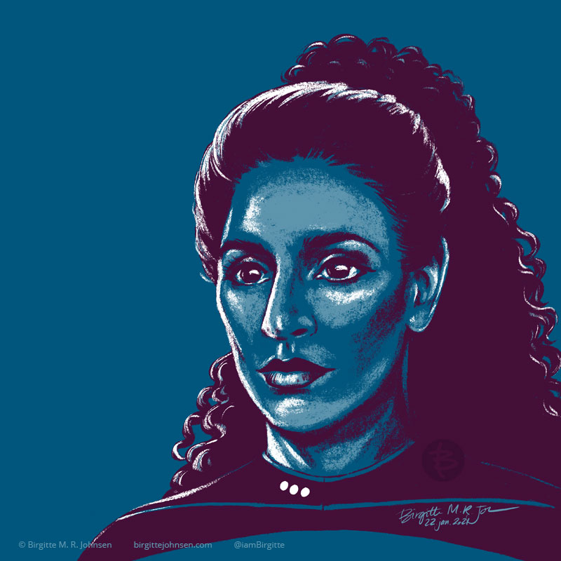 A portrait of Deanna Troi portrayed by Marina Sirtis, painted in a limited colour palette mostly featuring blue, which was inspired by the blue colour of her Starfleet uniform.
