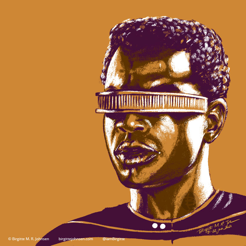 A portrait of Geordi La Forge portrayed by LeVar Burton, painted in a limited colour palette mostly featuring yellow, which was inspired by his gold Starfleet uniform.