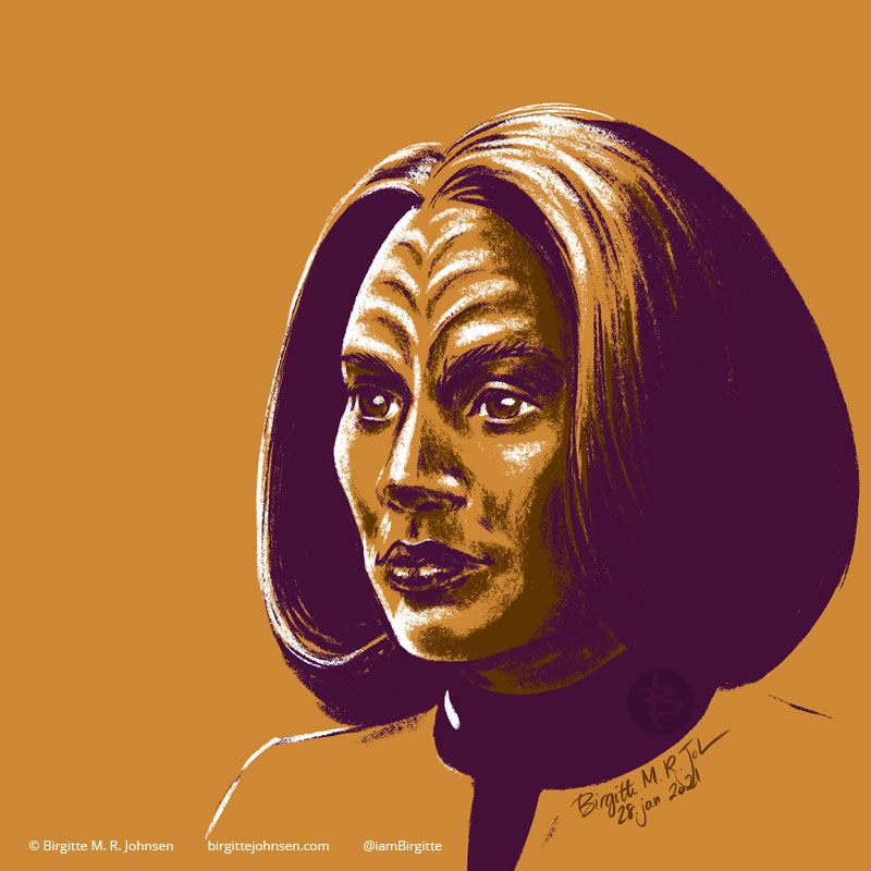 A portrait of B'Elanna Torres  portrayed by Roxann Dawson, painted in a limited colour palette mostly featuring yellow, which was inspired by her gold Starfleet uniform.