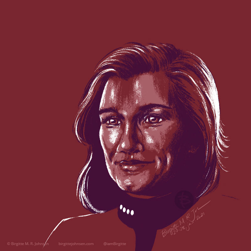 A portrait of Captain Janeway portrayed by Kate Mulgrew, painted in a limited colour palette mostly featuring red, which was inspired by the red colour of her Starfleet uniform.