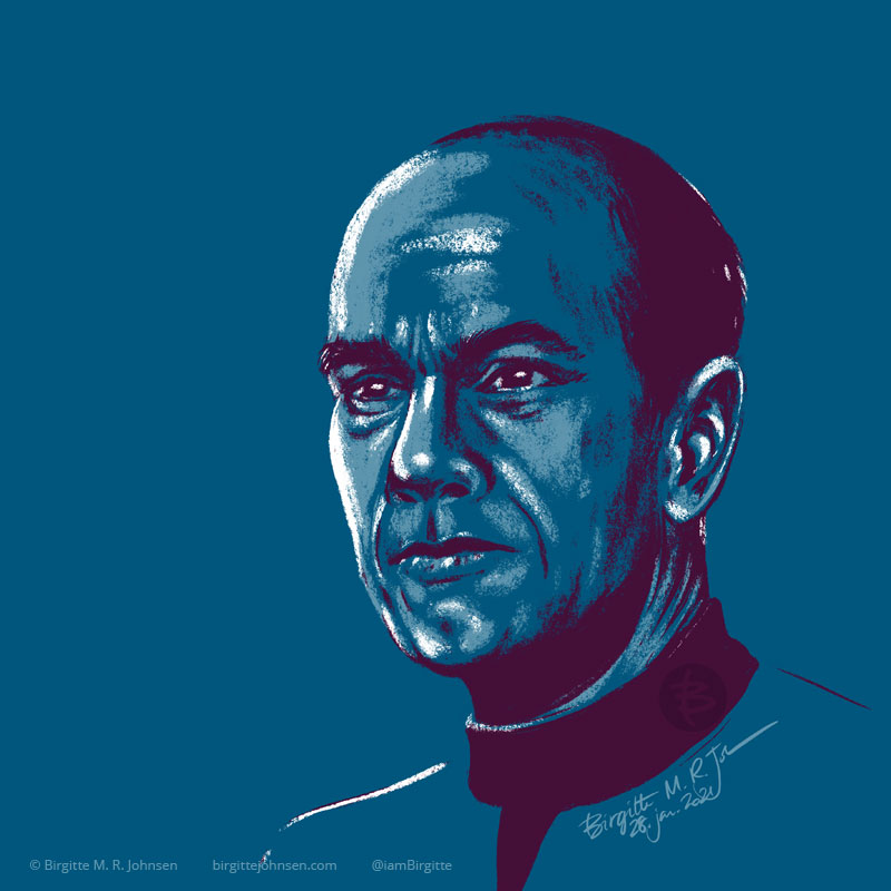 A portrait of The Doctor portrayed by Robert Picardo, painted in a limited colour palette mostly featuring blue, which was inspired by the blue colour of his Starfleet uniform.