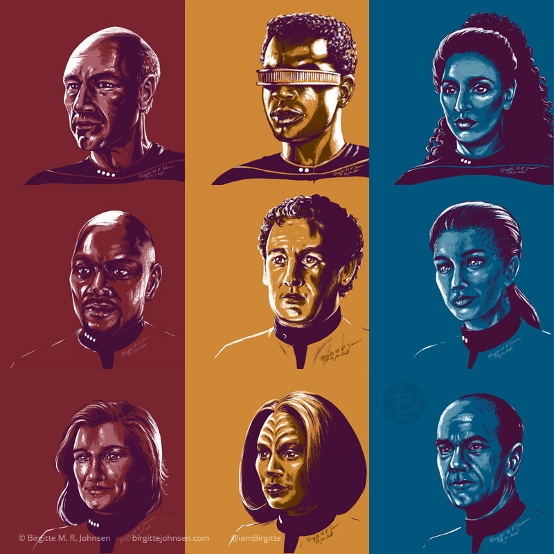 A grid of nine portraits, all painted in a limited colour palette using colours inspired by the character's Starfleet uniform.