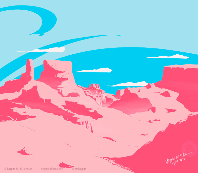A cotton-candy pink canyon with a baby blue sky.