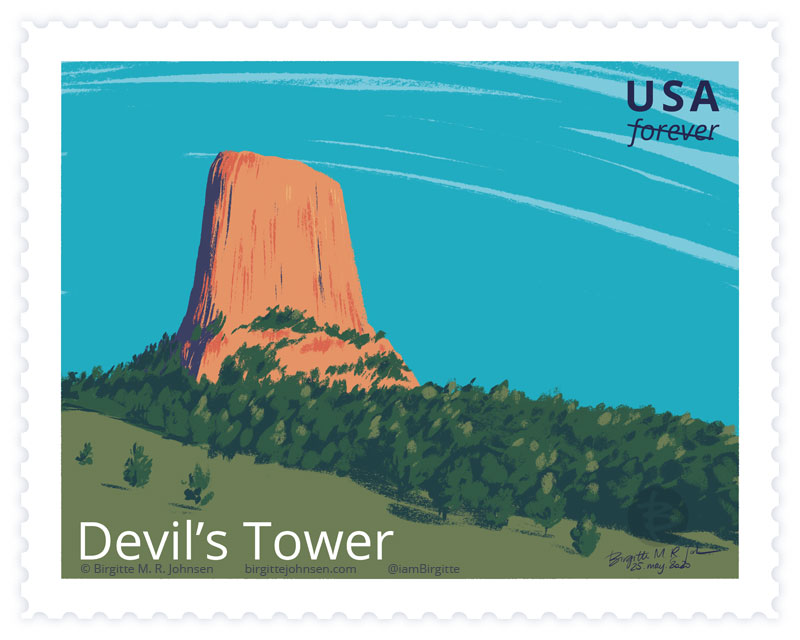 A painting of the butte known as Devil's tower, painted in greens and oranges.