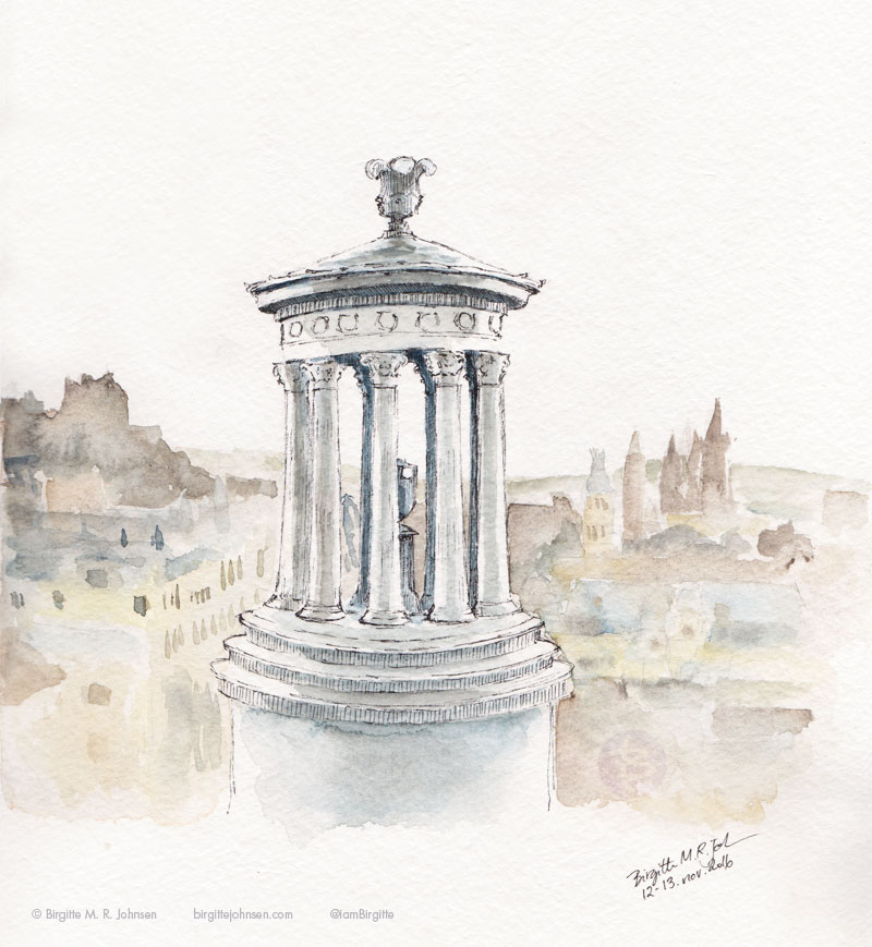 A drawing of a monument perched on a hill overlooking the city of Edinburgh.