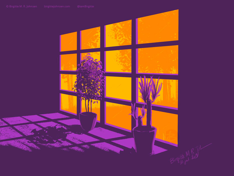 It's a scorching hot day out there, but luckily the windows keep the heat out. Painted in hues of purple and orange.