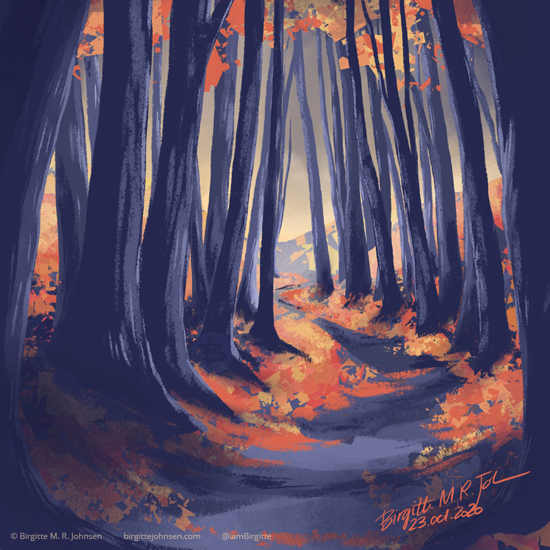 A digital painting of a winding path clad with tree dark trunks and discarded autumn leaves. Some of the leaves are still clinging to the branches, but there are few and far between. The image is painted digitally in hues of dark blue-greys, reds and oranges.