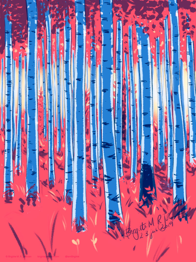 A birch forest painted in hues of blue and red.