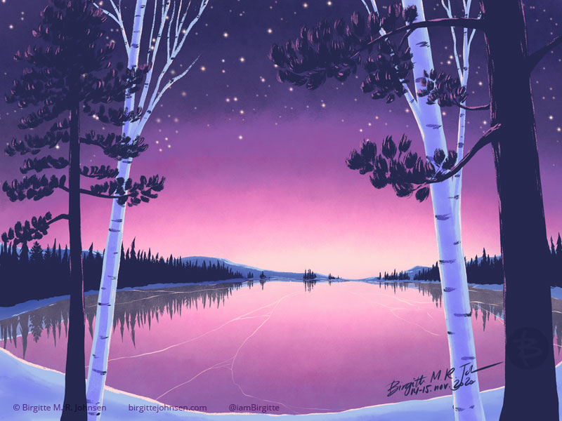 A digital painting of a frozen lake at dusk. The sky is dark blue at its darkest, moving into purple and pink before it turns into a light peach at the horizon line, and stars are visible at its darkest. The sky is reflecting in the clear frozen lake, though with a few cracks showing. An evergreen forest surrounds the lake, with snow clad mountains behind them. In the foreground both pine trees and naked birch trees frame the lake.