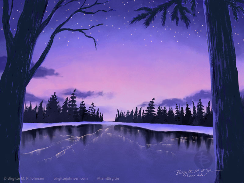 A digital painting of an icy lake at sunset. The lake is slightly cracked, with lines showing in the ice. The shore of the lake is covered with snow and trees are showing in the distance, as well as two trees framing the image. The sky is turning from a light pink to a dark purple with stars showing at the edge.