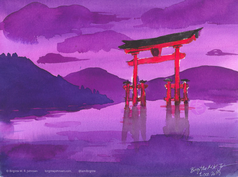 Ink painting of Itsukushima shrine painted in bright purples, blue and red.