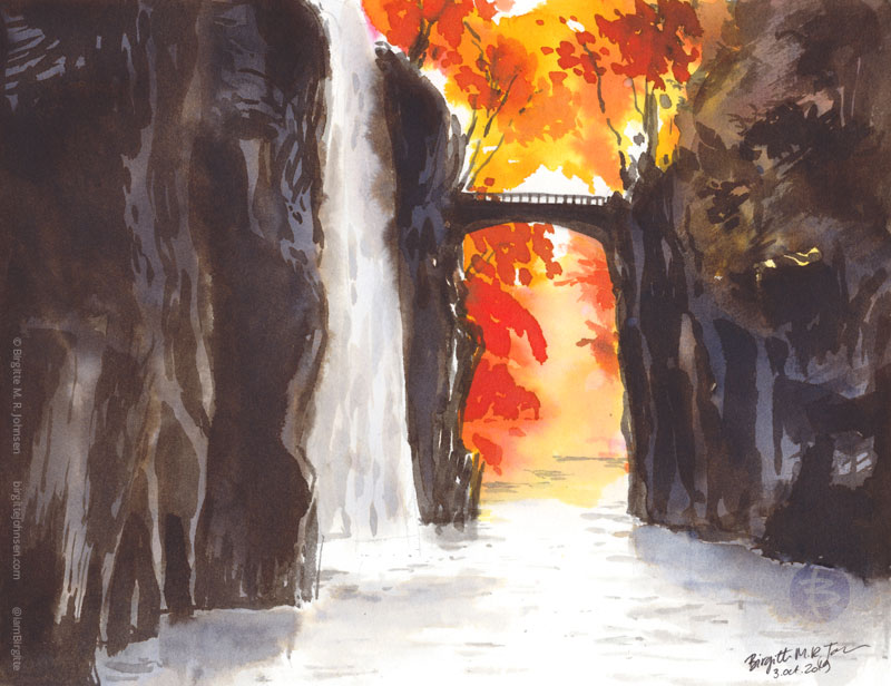 An ink painting of Takachiho Gorge during autumn.