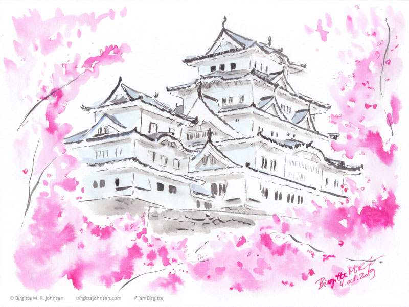 Himeji Castle in spring, painted with pinks, black and shades of grey.