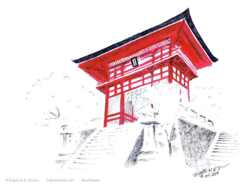 The red Deva gate of Kiyomizu-dera temple stands out against the snow, drawn in red and black inks.