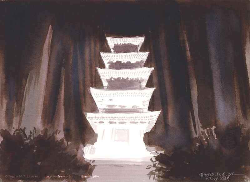 A five story illuminated pagoda standing in the middle of a dark forest, painted in shades of grey.
