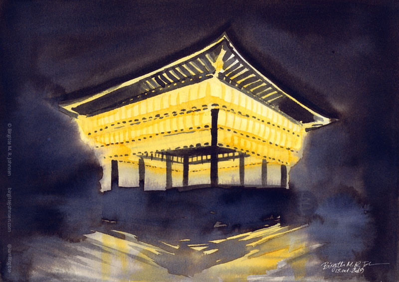 The dance hall of Yasaka shrine filled with lit lanterns at night, painted with black and yellow inks.