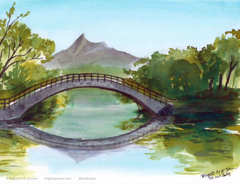 A bridge spanning part of the the lake, with Mount Hokkaidō Koma-ga-take in the background, painted in blues, greens and greys.