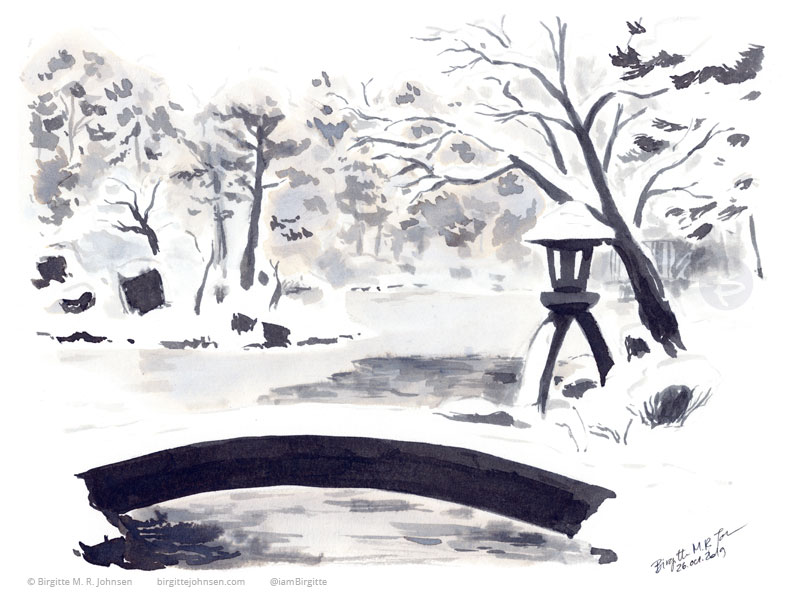 Kenroku-en garden in winter, painted in black and grey inks.