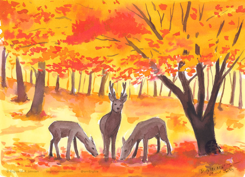 A painting of three sika deer grazing under the trees clad in yellow and orange leaves of autumn.