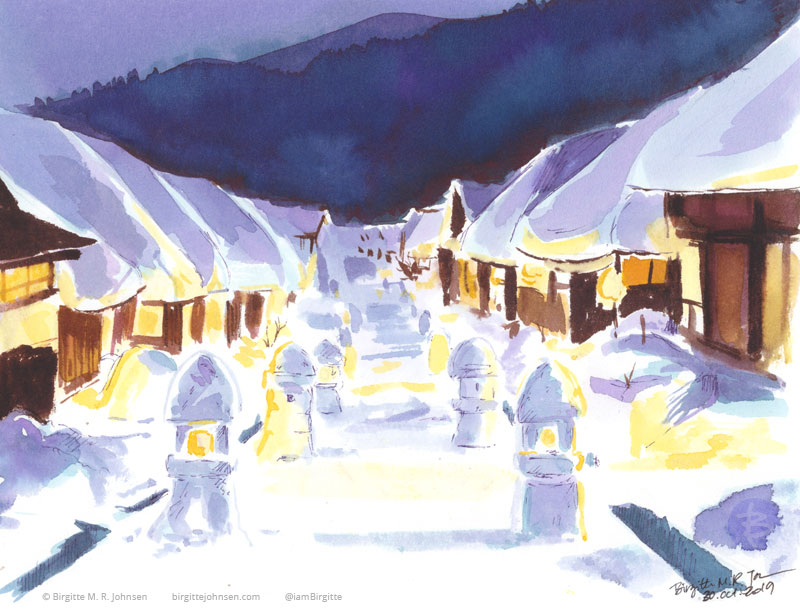 Houses covered with snow line the street, some of which have large snow lanterns built in front of them, painted in hues blue, purple, brown and yellow.