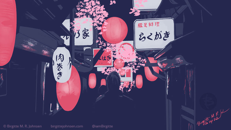 Digital painting of a narrow alley lined with pink lanterns, and illuminated signs. The image is rather moody and painted in dark blues, pinks and white.