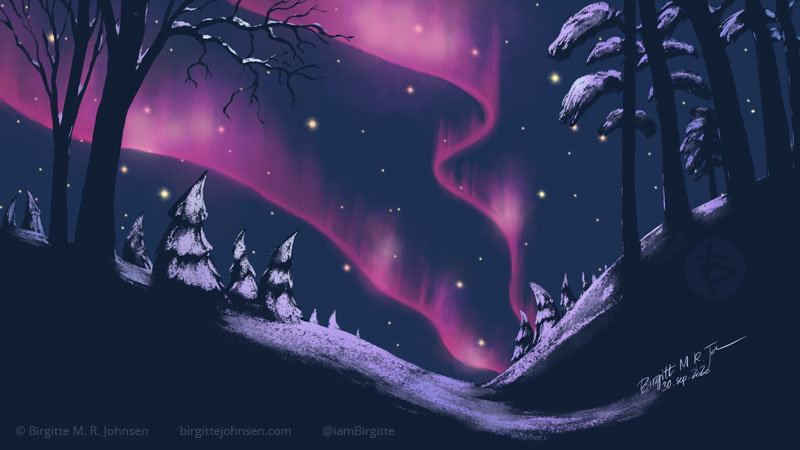 Digital painting of pink northern lights, which illuminates some of the scenery which is covered by snow. Painted digitally in hues of dark blue and pinks and purple.