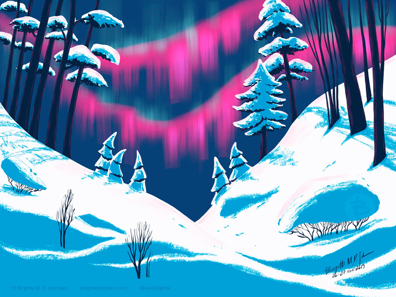 Digital painting of the pink northern lights lighting up the sky over a snow covered scenery. The image is painted using a limited colour palette of white, dark blue, blue, pink and green.