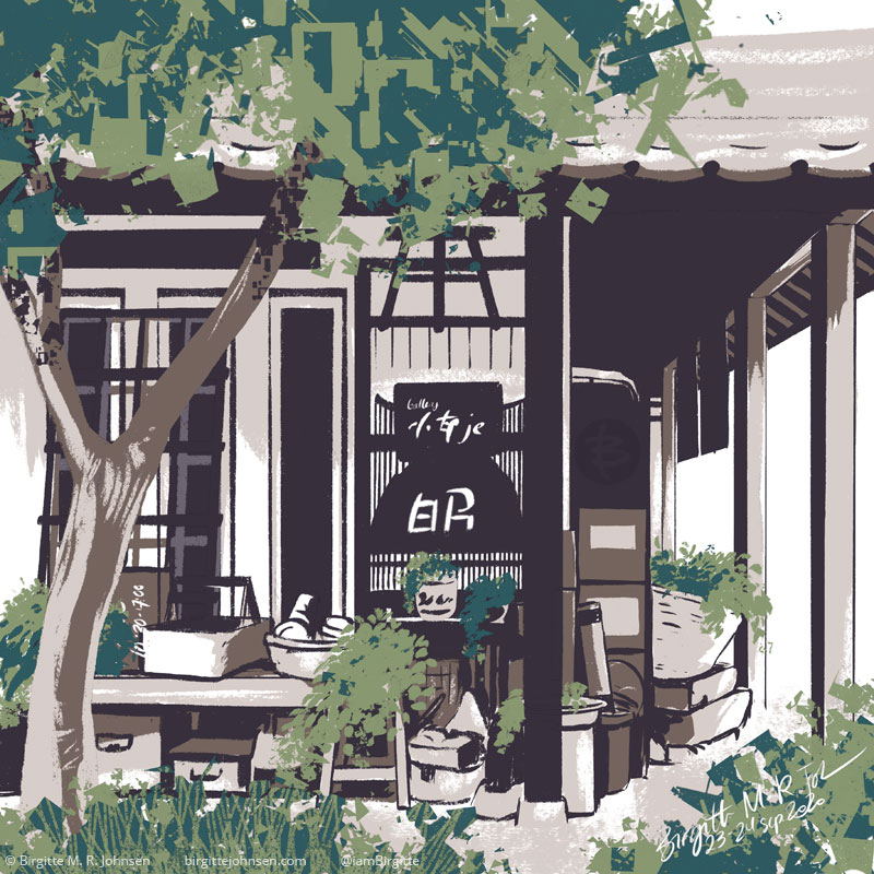 A digital painting of a storefront in Obuse, Nagano, Japan. The image is painted using only six colours, Dark brown, brown, beige, light and dark green and white.