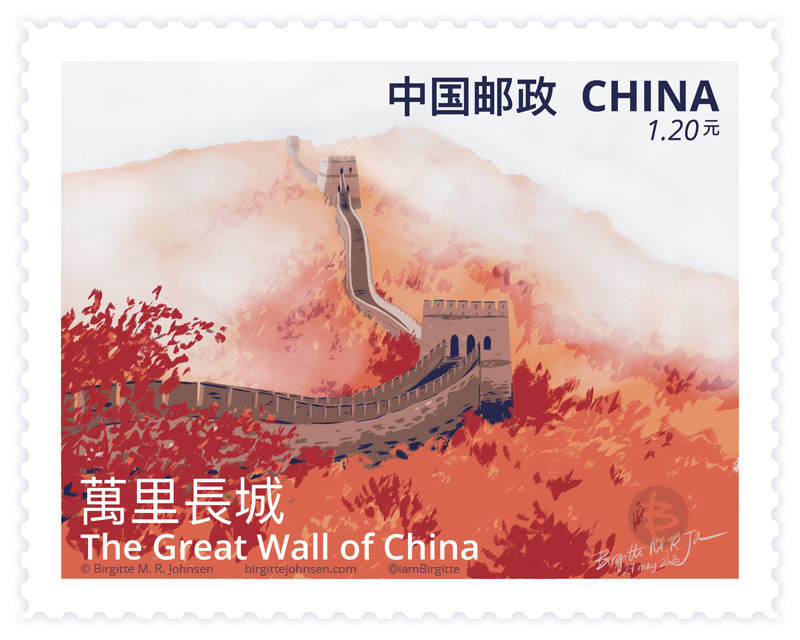 A painting of The Great Wall of China in autumn, as a postage stamp.