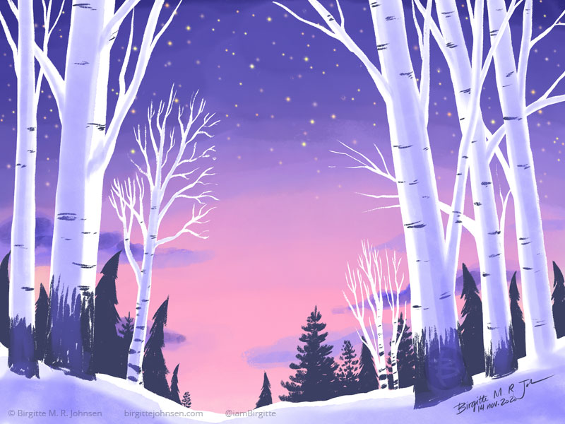 A forest at sunrise, showing birch trees in the foreground and darker evergreens in the back. The snow lie on the ground. The sky shifts from a dark purple with visible stars at the top, to a peachy pink closer to the ground.