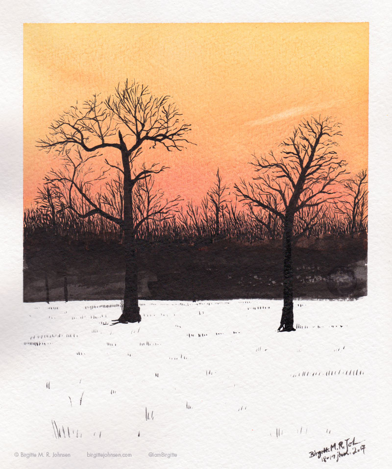 Dark trees create a contrast to the snow and the fiery red winter sky at sunset.