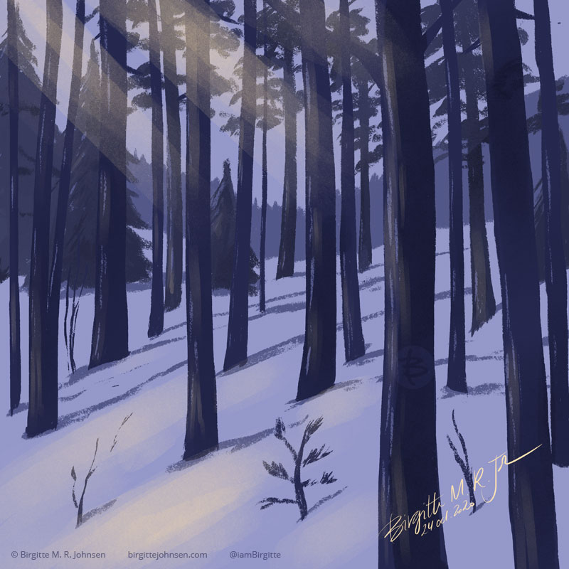 A digital painting of a forest during winter. The trees are standing a bit spread out, which consists of a mix of pine spruce and some small bushes. The forest floor is covered with snow. In the background is hill clad in a more dense forest. The image is painted in hues of blue with a yellow highlight.